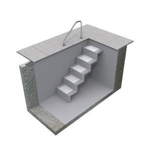 Pooltreppe Eleganz 60 (Wand)